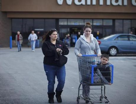 Kara Burbank shopped with children Kaylee, 17, and Hunter, 7, in Hudson.